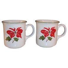 TWO Cuthbertson Red Poinsettia Christmas Coffee / Tea Mugs