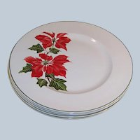 "SET OF 4: Cuthbertson Christmas Poinsettia (9 7/8"") Dinner Plates"