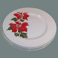"SET OF 4: Cuthbertson Christmas Poinsettia (9 7/8"") Dinner Plates"