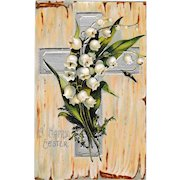 C. 1908 Antique Embossed Easter Cross and Lily of the Valley Postcard