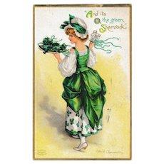 Antique Ellen Clapsaddle St. Patrick's Day Shamrock Lady Postcard