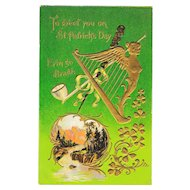 St. Patrick's Day Golden Harp Mountain Stream Vintage Postcard