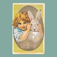 Antique Easter Greeting Postcard Peek A Boo Girl and Bunny Rabbit