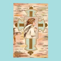 c. 1906 Child Angel & Cross Antique Easter Postcard