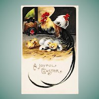 Antique Easter Postcard Rooster and Chicks