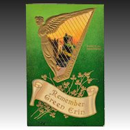 "Antique Samson Brothers St. Patrick's Day Postcard Irish Harp ""Remember Green Erin"""