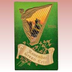 "Antique Samson Brothers St. Patrick's Day Postcard Irish Harp ""Remember Green Erin"""