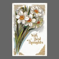 Antique Winsch Embossed Jonquils Greetings Postcard