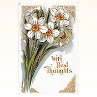 Antique Winsch Embossed Jonquils Greetings Postcard