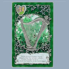 Antique St. Patrick's Day Postcard Silver Harp
