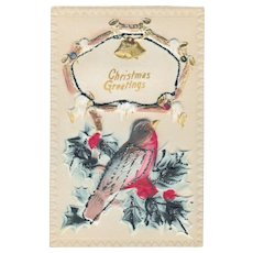 Antique T. I. C. Puffy Christmas Bird  & Holly Postcard