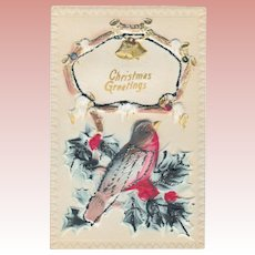 Antique T. I. C. Puffy Christmas Bird  & Holly Postcard