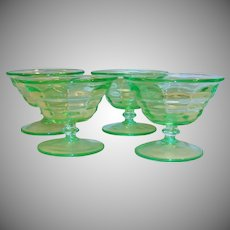 Set of FOUR: Paden City Party Line Depression Green Footed Dessert Glasses