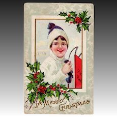 1911  Boy & Red Racer Sled Antique Christmas Postcard