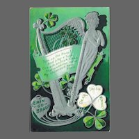 Silver Harp Irish Memories Antique St. Patrick's Postcard