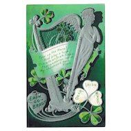 Silver Harp Irish Memories Antique St. Patrick's Postcard