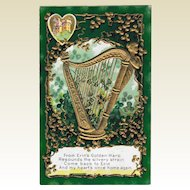 Early 1900's St. Patrick's Day Erin's Golden Harp Postcard