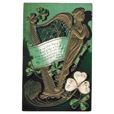 "Gold Harp St. Patrick's Antique Postcard ""Erin Go Bragh"" Irish Memories"