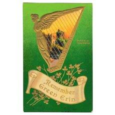 Antique Samson Brothers St. Patrick's Day Postcard Irish Harp Castle Ruins