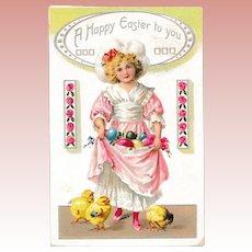 Antique Raphael Tuck & Sons Easter Postcard Gathering Eggs