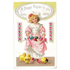 Antique Raphael Tuck & Sons Easter Postcard Gathering Eggs