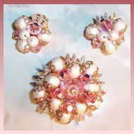 Sparkling Pink Aurora Borealis Hand Wired Beaded Brooch & Earrings