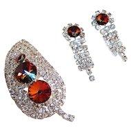 Ravishing Rivoli & Rhinestone Leaf Brooch & Earrings