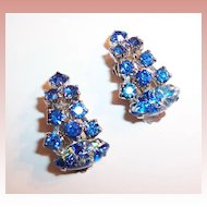 Fabulous! Blue Art Glass & Rhinestone Earrings