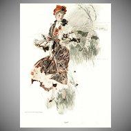 "Henry Hutt Victorian Lithograph Print:   ""April"""
