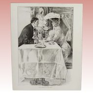 "Antique Henry Hutt Double Sided Lithograph Print:  ""Till Death Do Us Part"" & ""Doubt"""