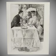 """Antique Henry Hutt Double Sided Lithograph Print:  """"Till Death Do Us Part"""" & """"Doubt"""""""