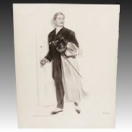 """Antique Henry Hutt Double Sided Lithograph Print: """"The First"""" & """"The Lady of Decoration"""""""