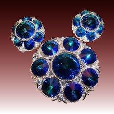 Splendid Sapphire Blue Rivoli Brooch & Earrings Set