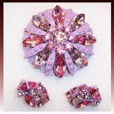 Vintage Sparkling Pink Rhinestone & Lavender Enamel Demi