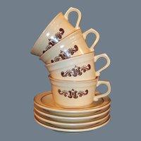 Set of 4: Pfaltzgraff Village Coffee Cups Saucers