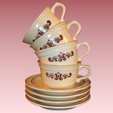 Set of 4: Pfaltzgraff Village Coffee Cups Saucers