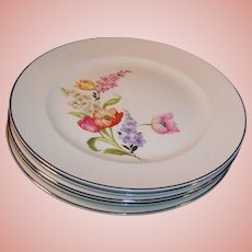 FIVE: Pope Gosser China Flanders Dinner Plates  (Tulip, Poppy, Snapdragons)