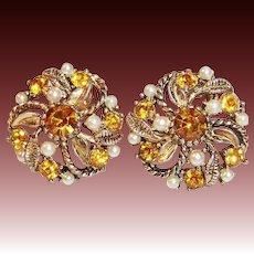 Warm Honey Amber Vintage Earrings