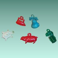 (5) Vintage Plastic Cracker Jack or Gum Ball Charm Prizes