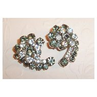 Excellent! 1950's Sparkling Smoke & Clear Rhinestone Earrings