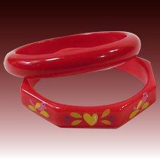 TWO: Vintage Red Plastic Bangle Bracelets