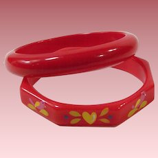 TWO: Vintage Red Plastic Bangle Bracelets