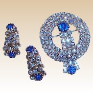 Sparkling Blue Waterfall Brooch & Earrings Set