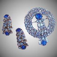 Sparkling Blue Waterfall Brooch & Earrings Set