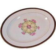 """Vintage 1930's """"Union Made"""": Southern Rose Platter, Embellished 22K Gold Leaf Trim"""