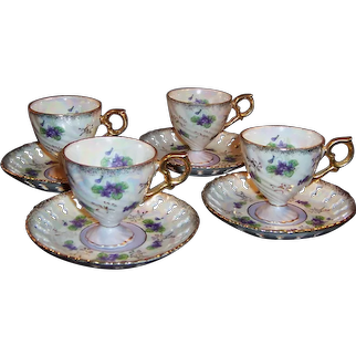 Set of 4 Japan Delicate Tea Cups & Reticulated Saucers