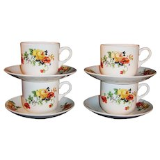 Small Mugs / Cups & Saucers Homer Laughlin Poppy & Rose (SET of FOUR)