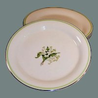 "SET of 4: Lily of the Valley 6"" Dessert (Bread Butter) Plates"