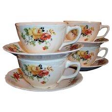 SET of 4: Laughlin Poppy & Rose Virginia Rose Shape Cups Saucers
