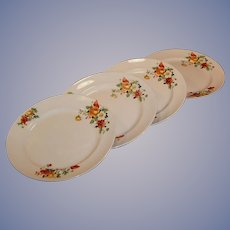"SET of 4: Homer Laughlin  Kwaker Poppy & Rose 9"" Dinner Plates"